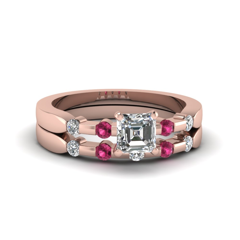 Asscher Cut Delicate Diamond Wedding Ring Set With Pink Sapphire In