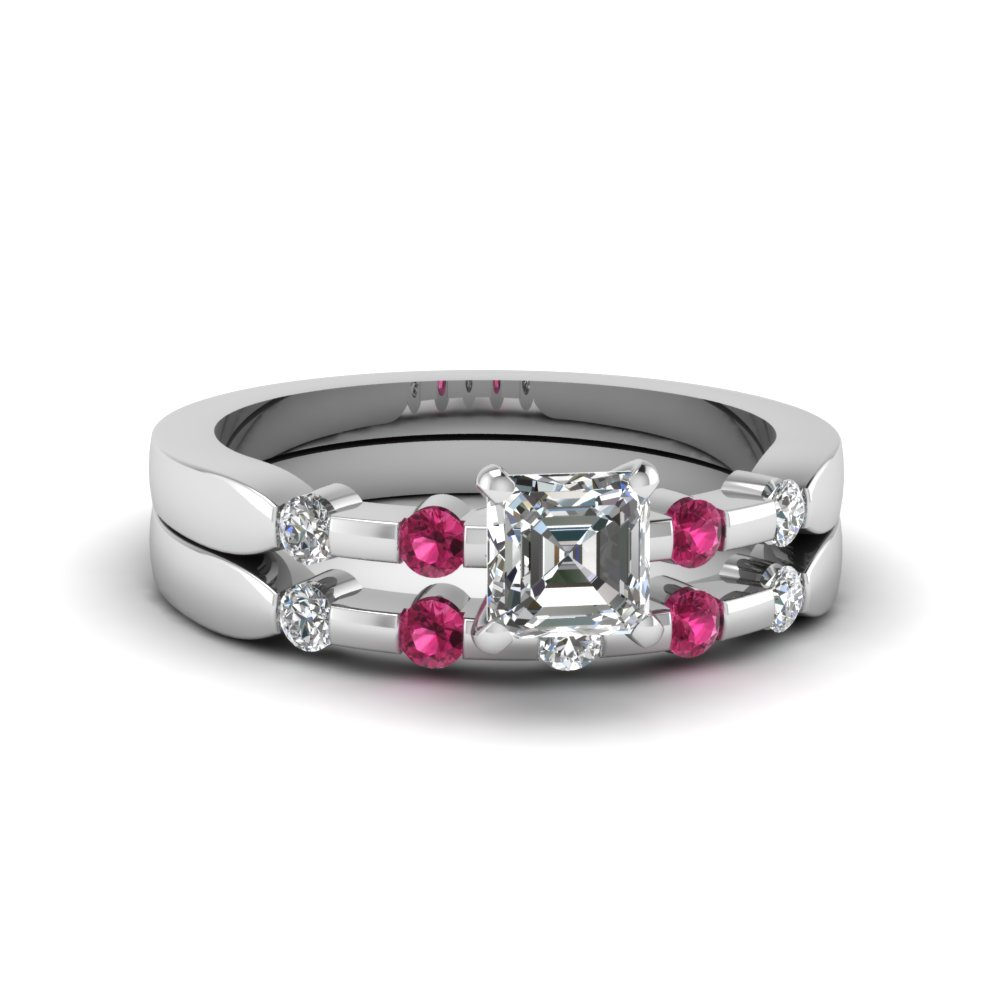 asscher cut delicate diamond wedding ring set with pink sapphire in FDENS3063ASGSADRPI NL WG