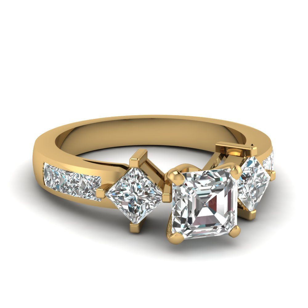 Channel Set Asscher Cut Diamond Side Stone Ring