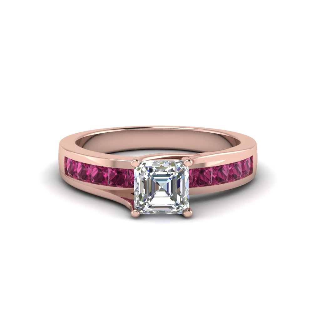asscher cut diamond channel set princess engagement ring with pink sapphire in FDENR7776ASRGSADRPI NL RG GS