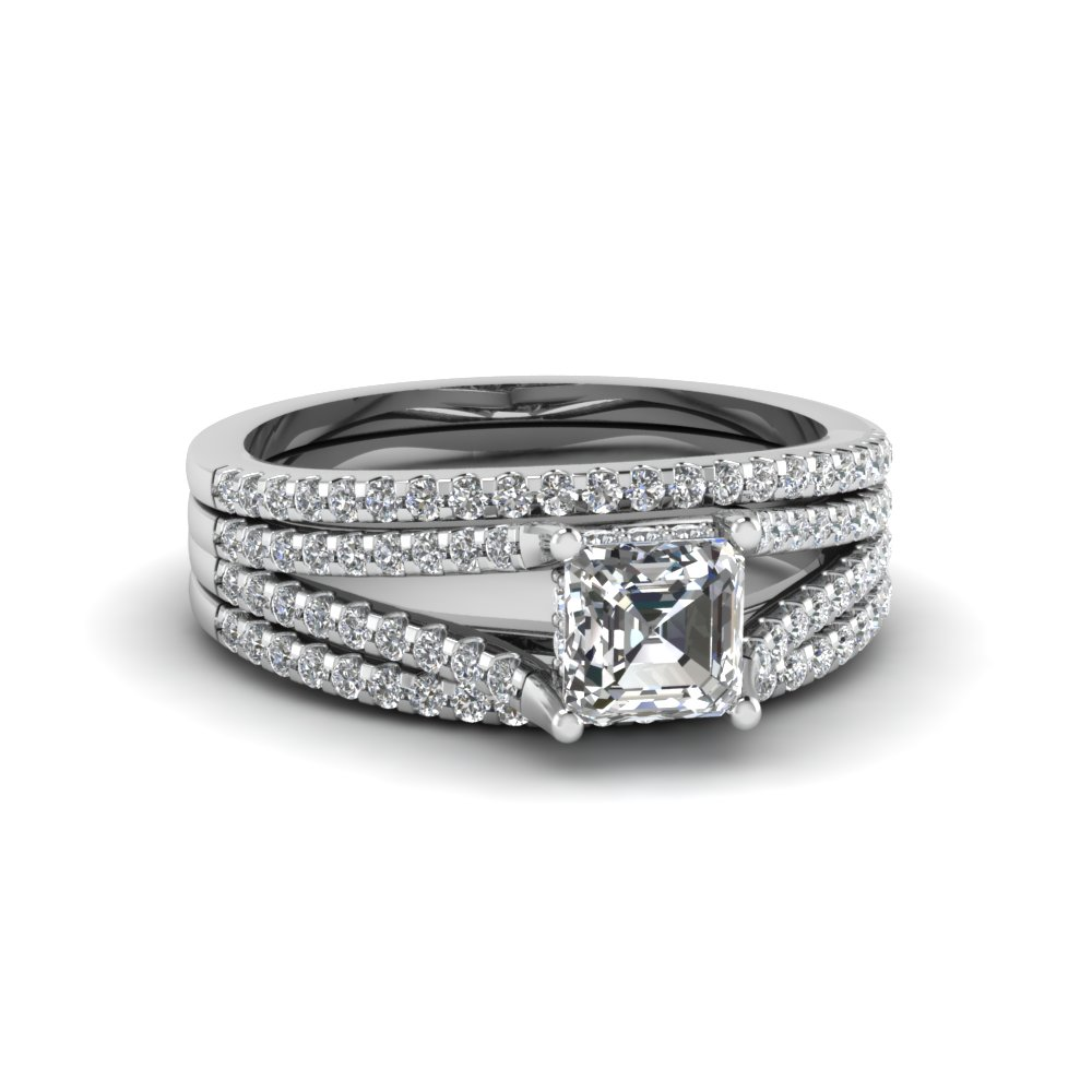 search our 14k white gold trio wedding ring sets| fascinating diamonds