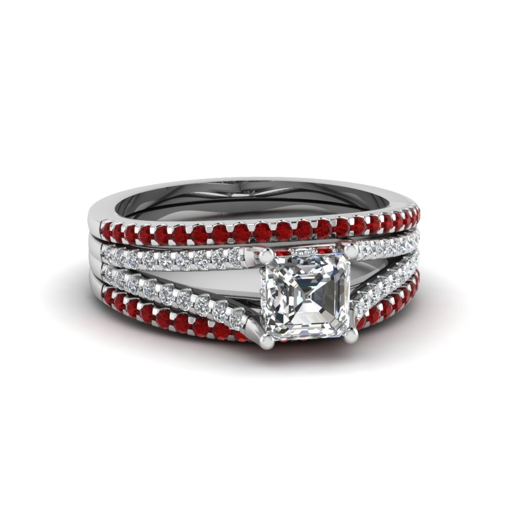 Purchase Our Asscher Trio Wedding Ring Sets At Affordable Prices