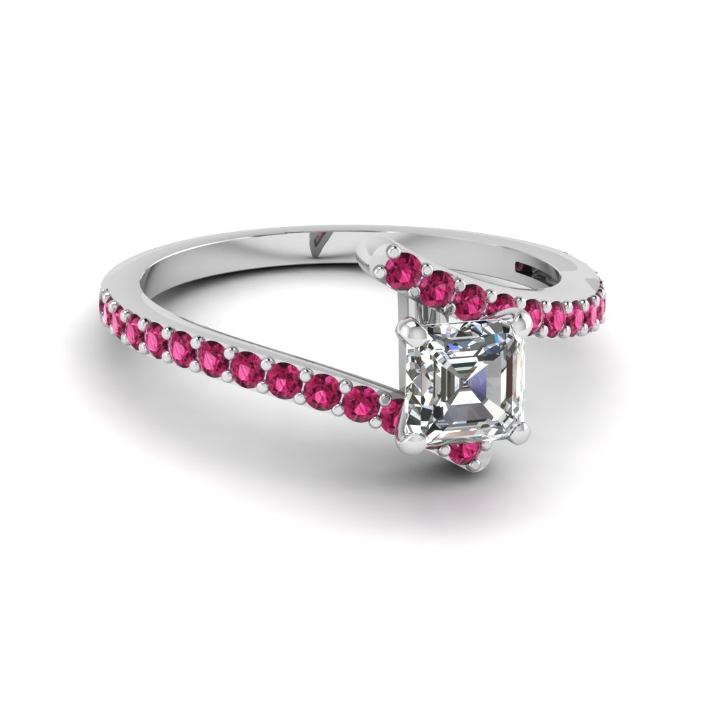 asscher cut diamond colorful engagement ring with dark pink sapphire in 14K white gold FDENS3007ASRGSADRPI NL WG GS