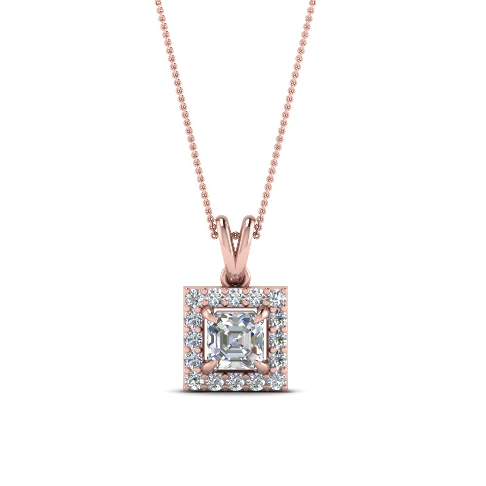 Asscher Diamond Halo Pendant