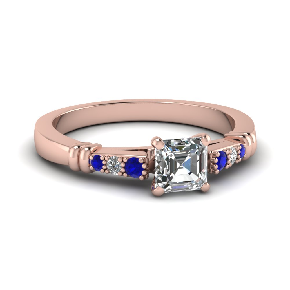 pave bar set asscher cut diamond engagement ring with sapphire in FDENS363ASRGSABL NL RG