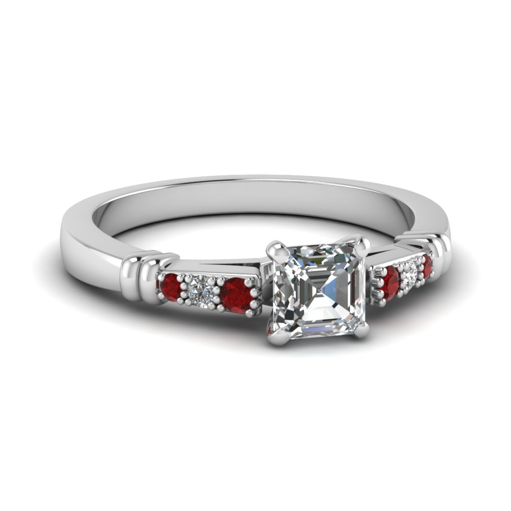 pave bar set asscher cut diamond engagement ring with ruby in FDENS363ASRGRUDR NL WG