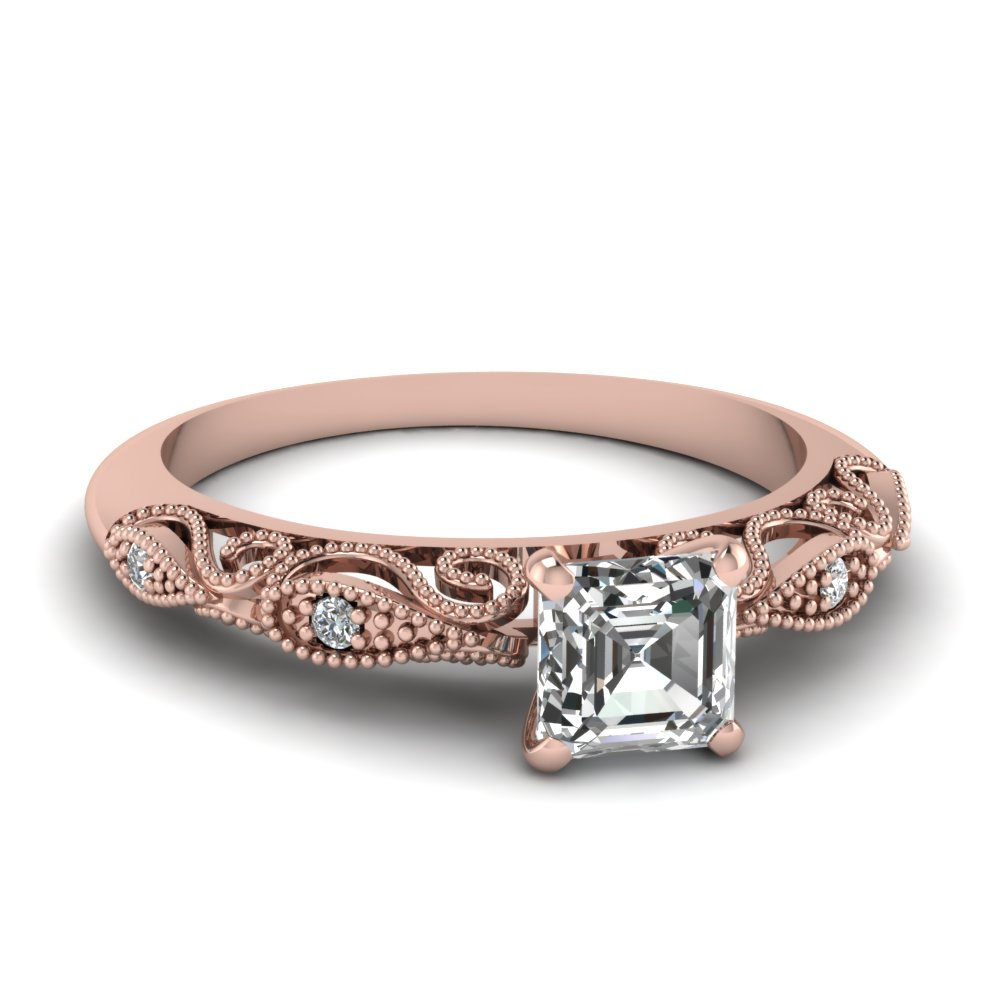 Rose Gold Asscher Cut Milgrain Engagement Rings