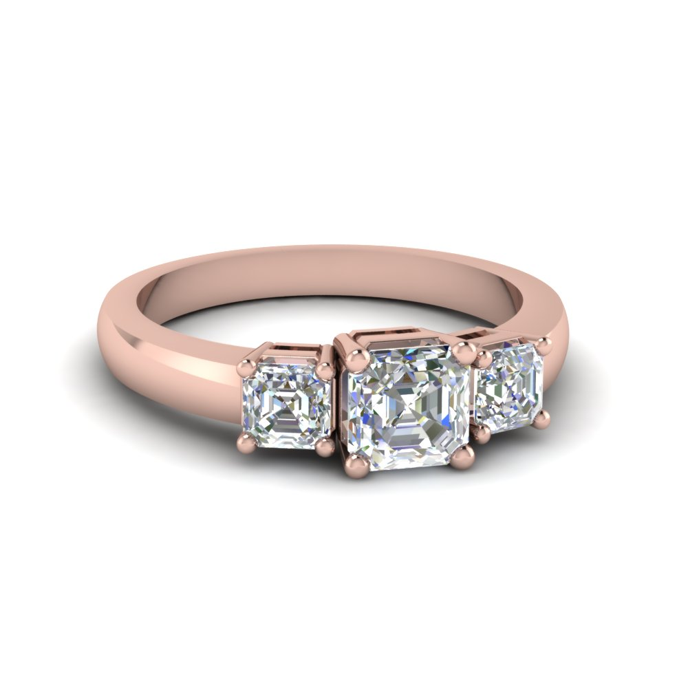 14k Rose Gold Asscher 3 Stone Engagement Rings