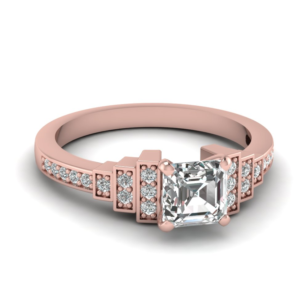asscher cut diamond engagement ring in 14K rose gold FDENS3304ASRANGLE5 NL RG