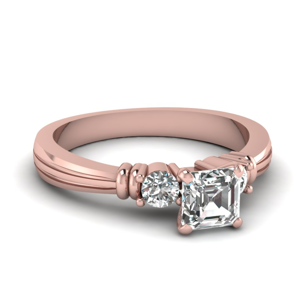 Asscher Cut Tapered 3 Stone Anniversary Ring