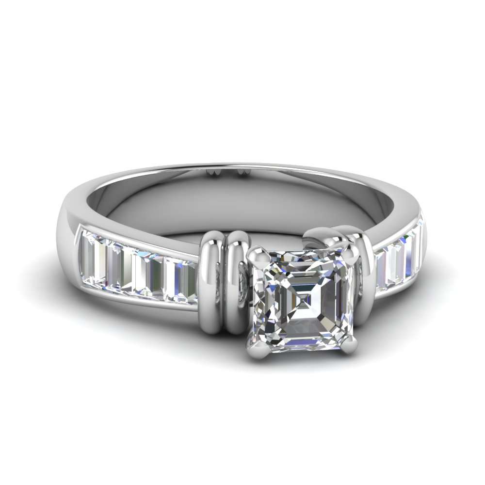 tapered asscher diamond engagement ring with baguette in FDENR1112ASR NL WG