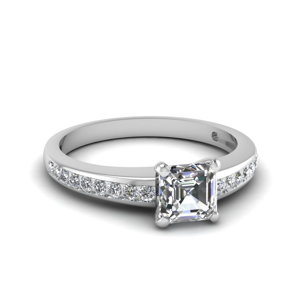 Asscher Cut Untreated Delicate Diamond Engagement Ring