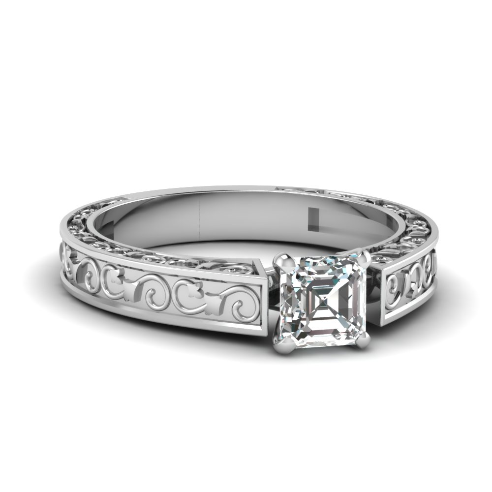 Solitaire Asscher Diamond Engagement Ring