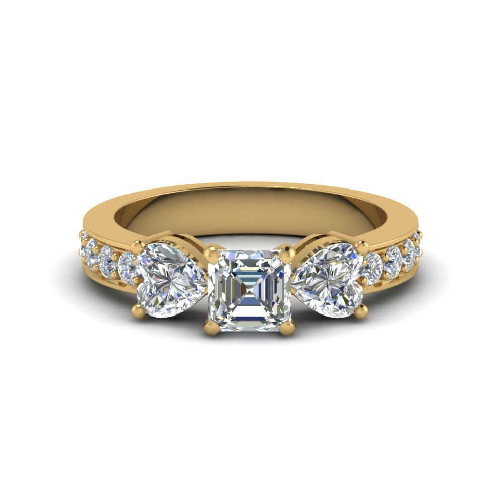 asscher cut pave 3 stone diamond engagement ring in FD8031ASR NL YG