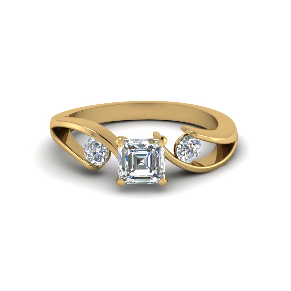 Tension Set Round Accents Three Stone Asscher Cut Engagement Ring