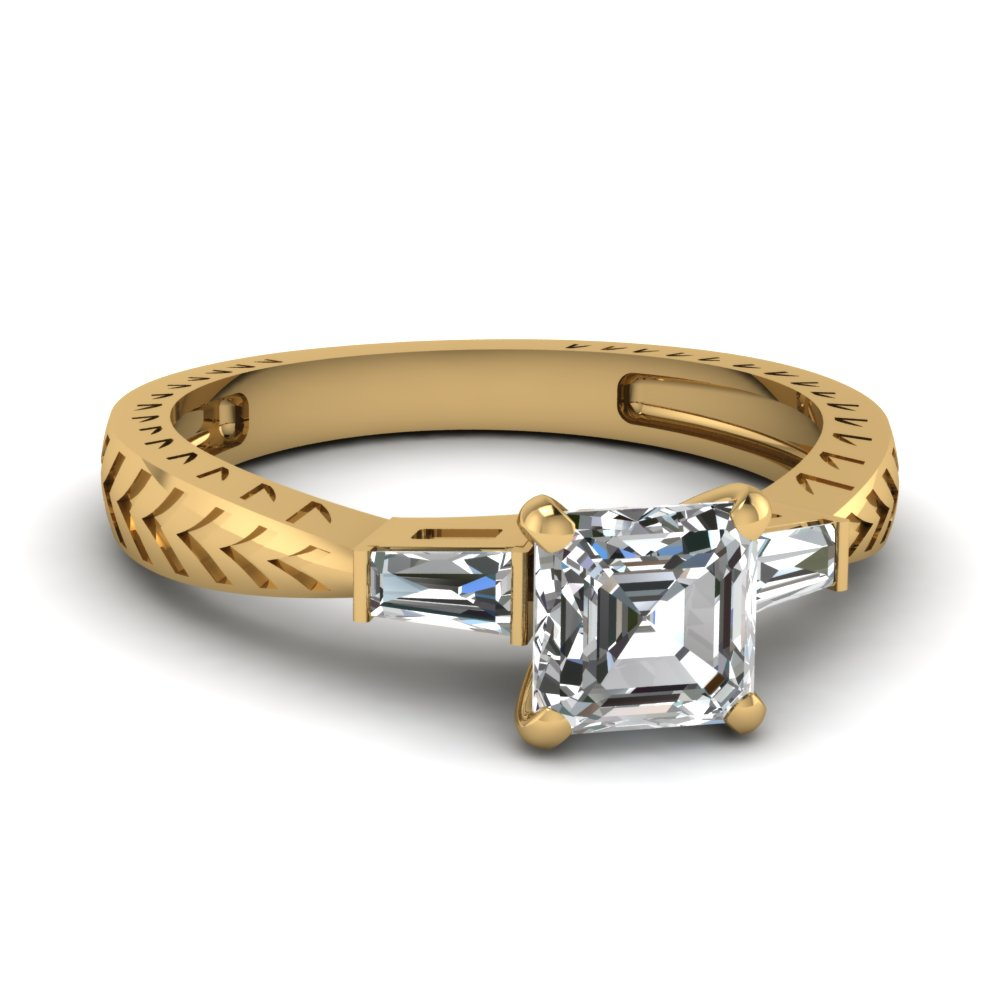 tapered vintage 3 stone asscher engagement ring in FDENR1202ASR NL YG