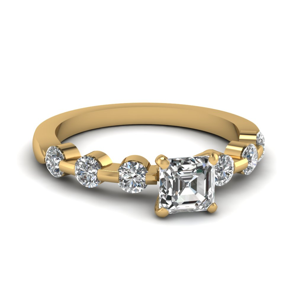 Floating Bar Asscher Diamond Ring