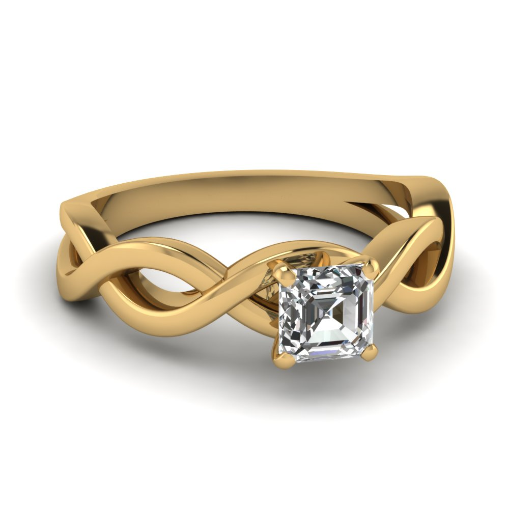 infinity asscher diamond solitaire engagement ring in FD1123ASR NL YG