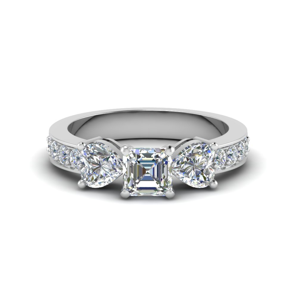 asscher cut pave 3 stone diamond engagement ring in FD8031ASR NL WG