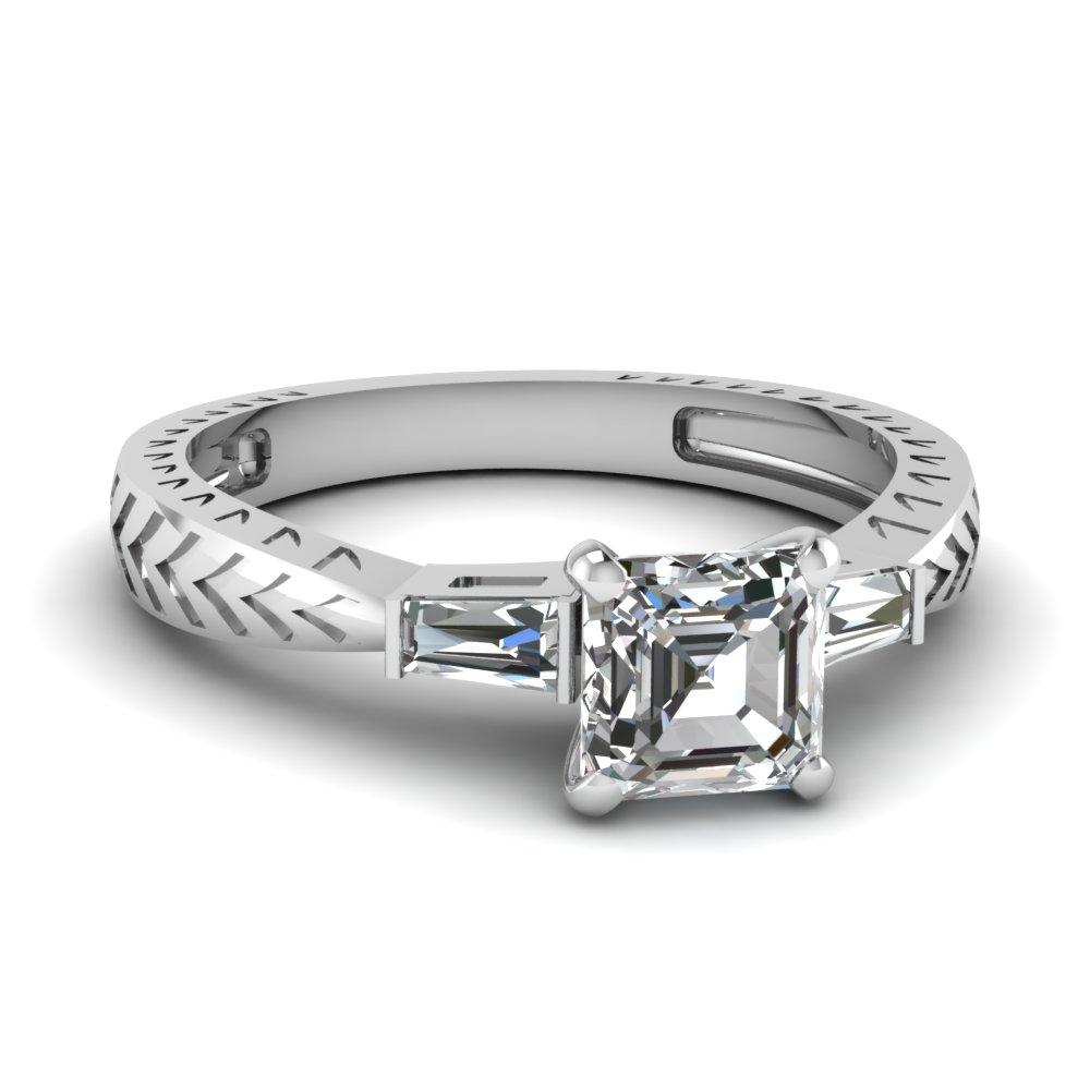 Antique Inspired Asscher And Baguette Diamond Ring