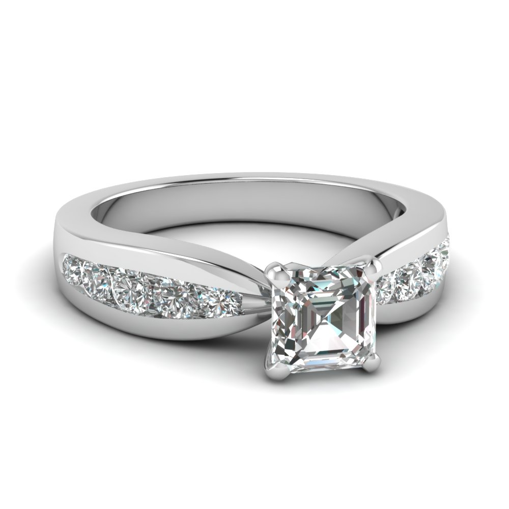 Asscher Cut Diamond Tapered Ring