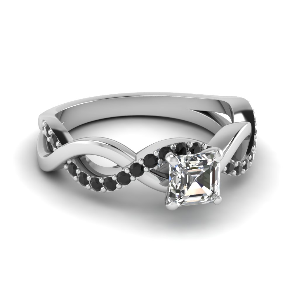 infinity asscher cut black diamond engagement ring in FD1122ASRGBLACK NL WG GS