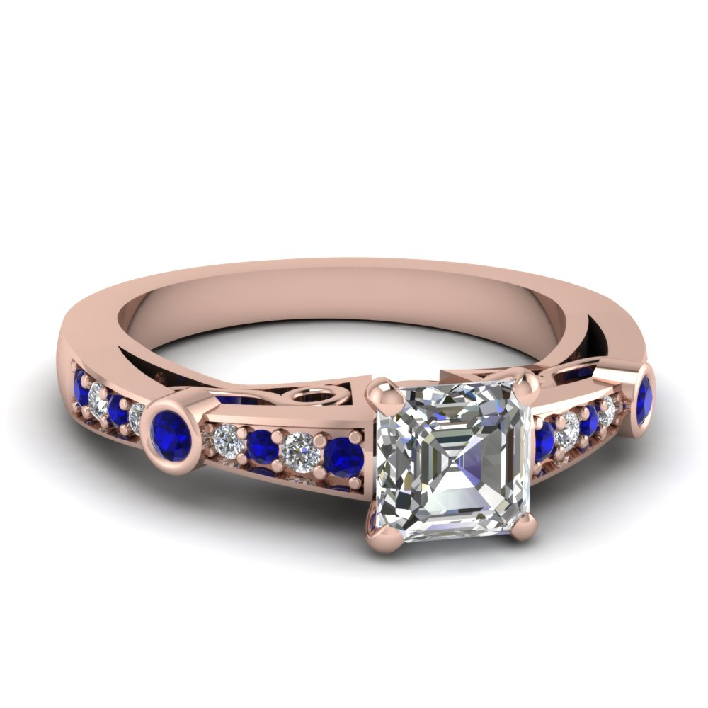 asscher cut diamond tapered vintage engagement ring with sapphire in FDENR3142ASRGSABL NL RG