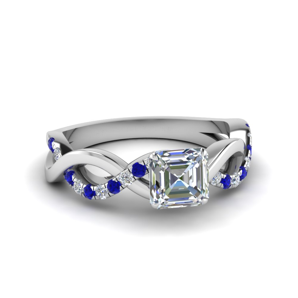 asscher cut infinity diamond engagement ring with sapphire in FD1122ASRGSABL NL WG