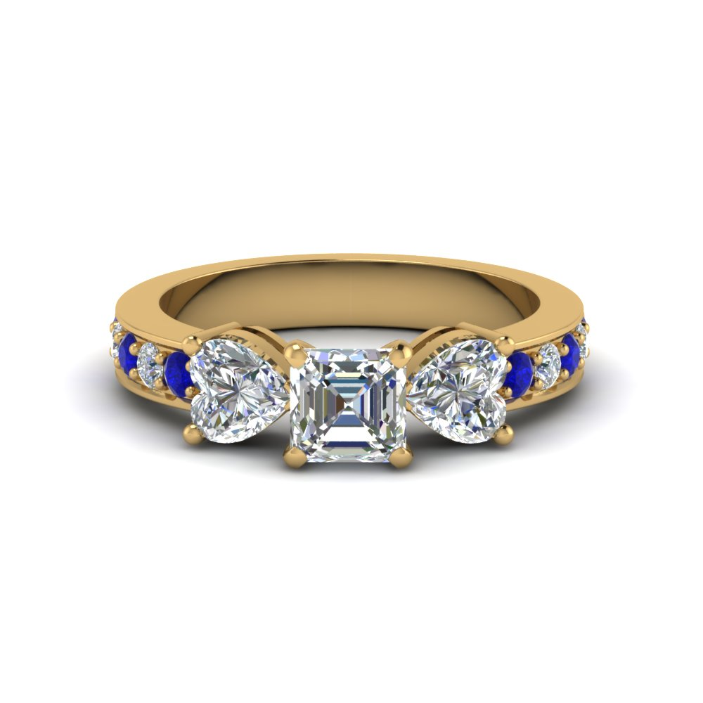 asscher cut pave 3 stone diamond engagement ring with sapphire in FD8031ASRGSABL NL YG