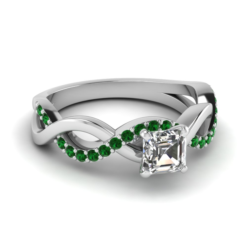 infinity asscher cut emerald engagement ring in FD1122ASRGEMGR NL WG GS