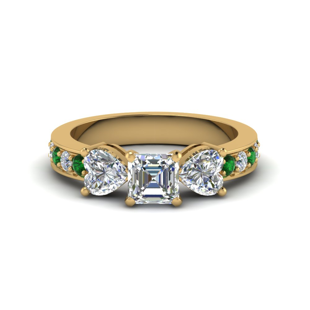 asscher cut pave 3 stone diamond engagement ring with emerald in FD8031ASRGEMGR NL YG