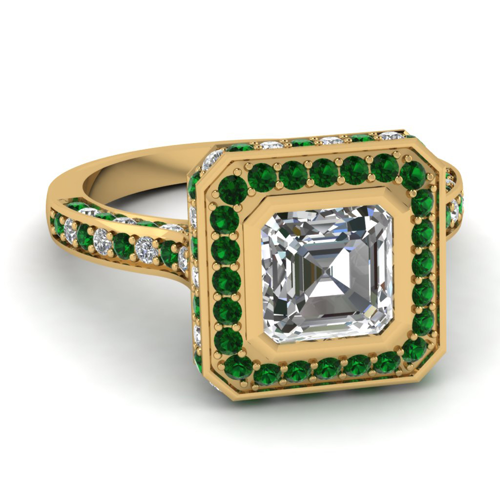 Asscher 14k Yellow Gold Halo Ring