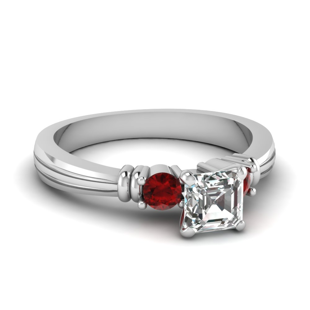 asscher cut tapered 3 stone diamond engagement ring with ruby in FDENS657ASRGRUDR NL WG