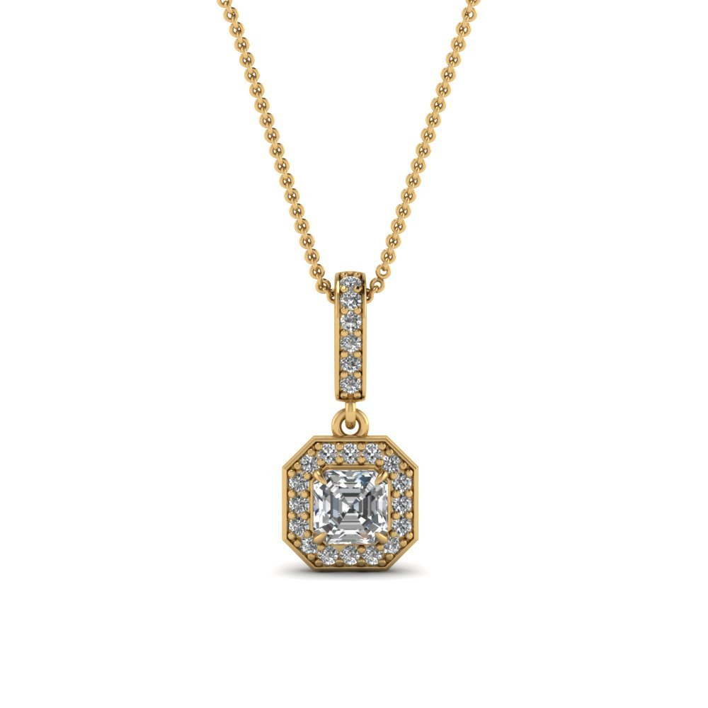 Halo Asscher Diamond Pendant