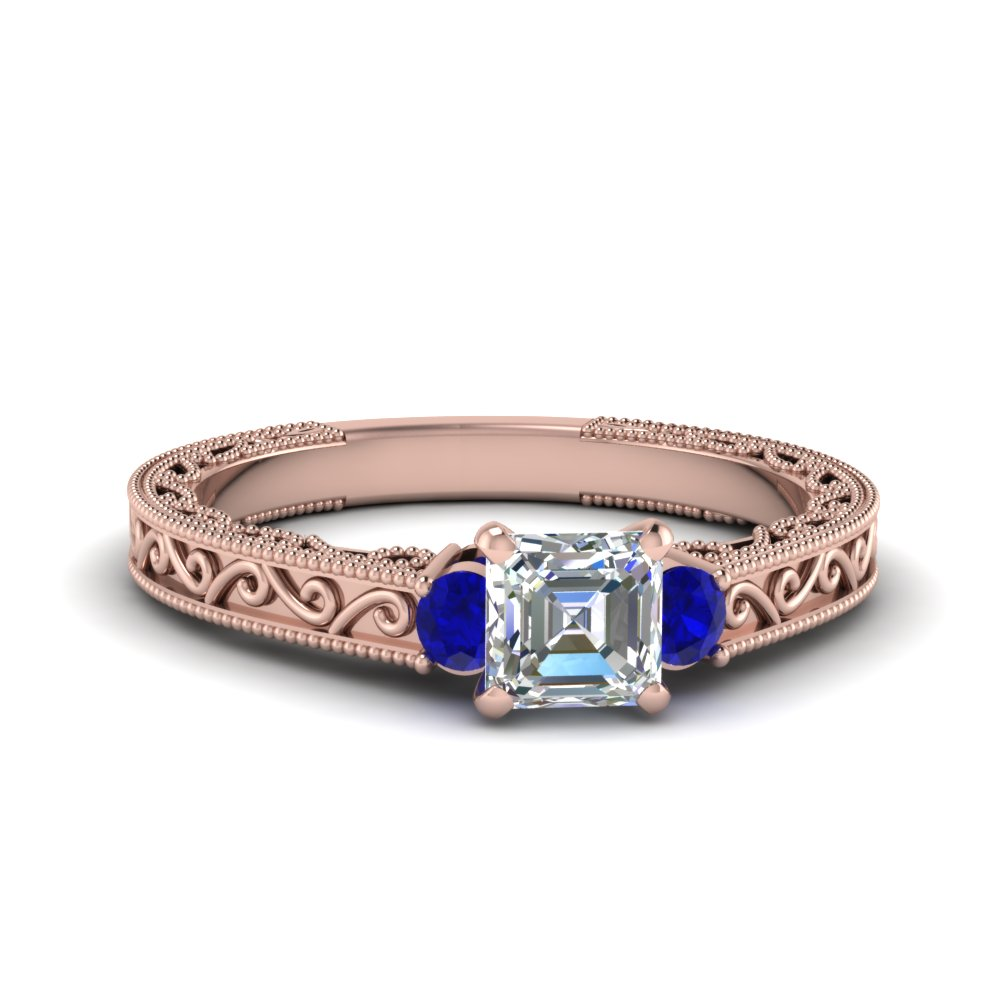 asscher cut diamond filigree three stone engagement ring with blue sapphire in FD69806ASRGSABL NL RG