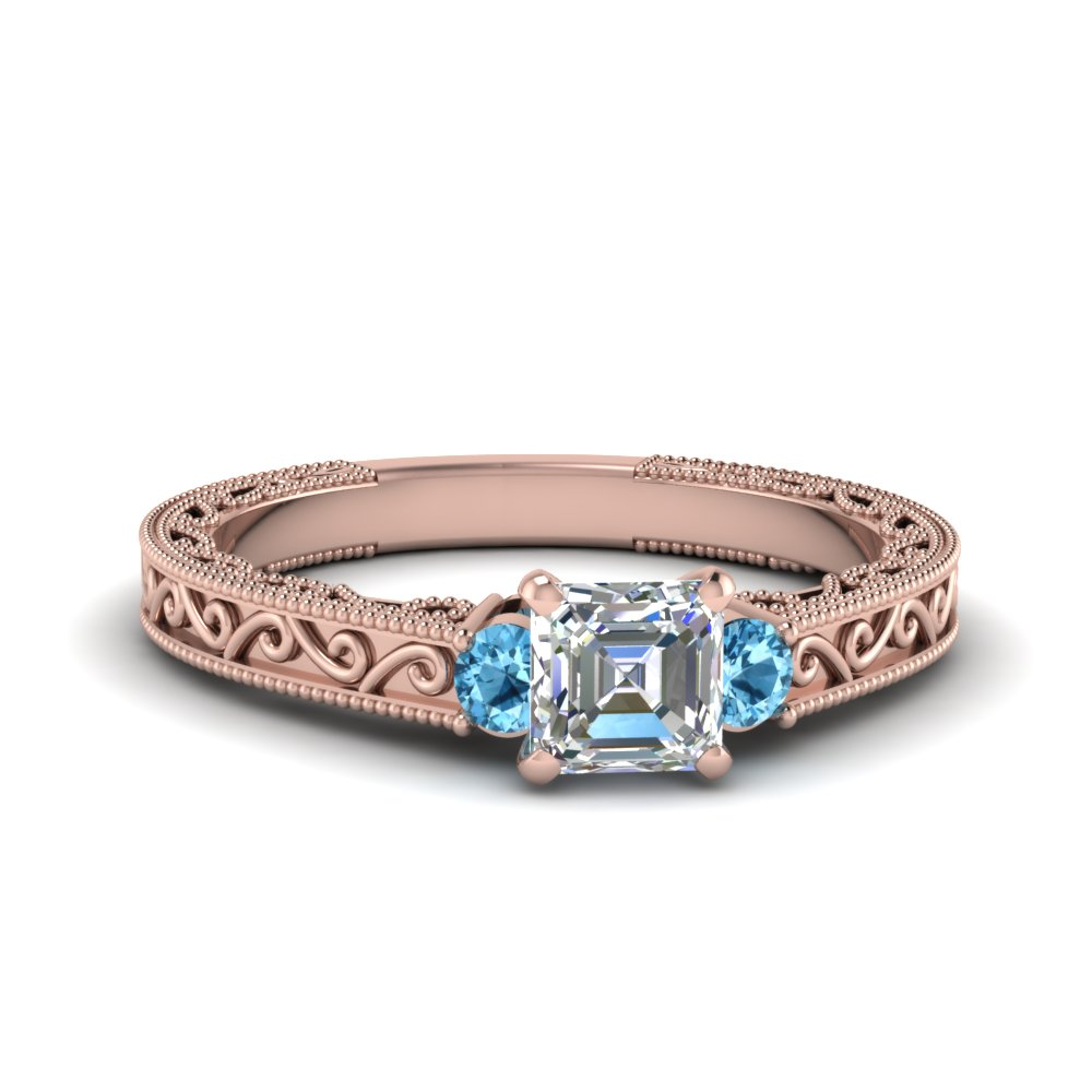 Filigree Topaz Asscher Cut Ring