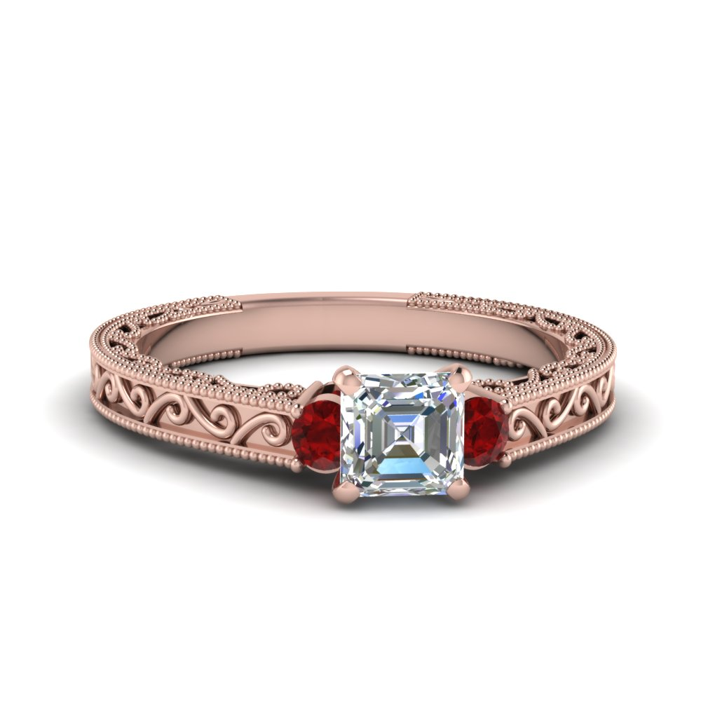 Asscher Cut 3 Stone Ruby Ring