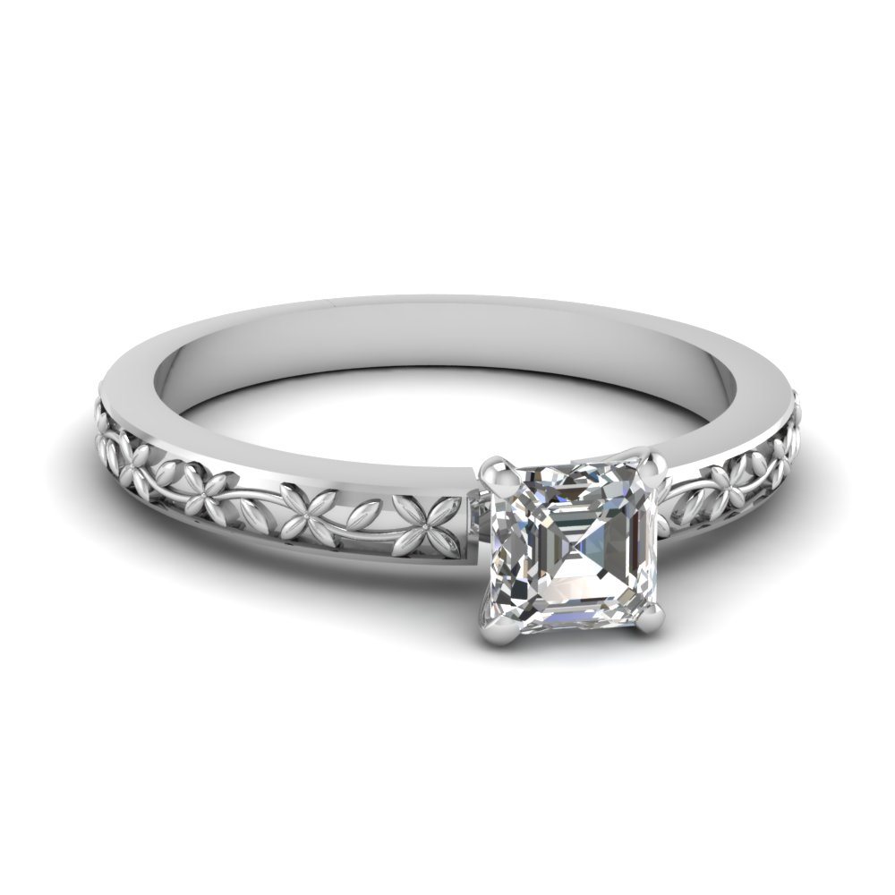 floral engraved asscher diamond solitaire engagement ring in FDENS3552ASR NL WG