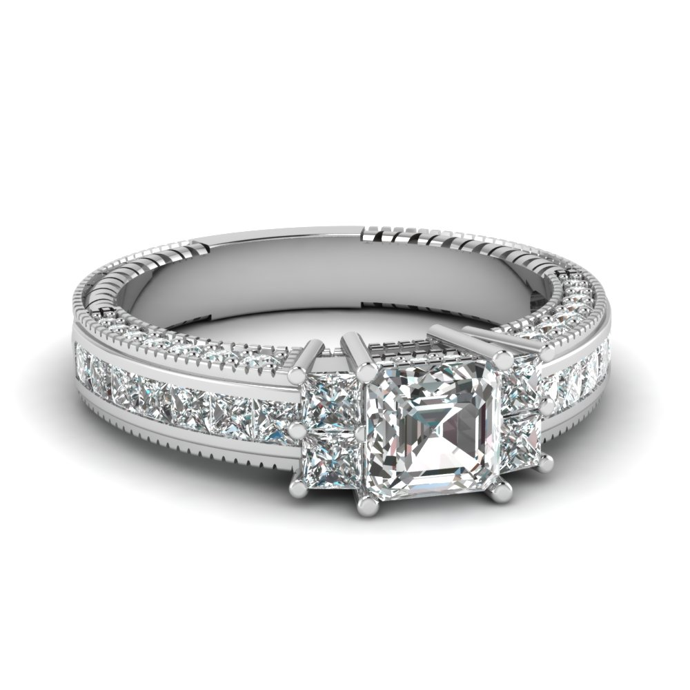 One Carat Asscher Cut Diamond Ring For Her