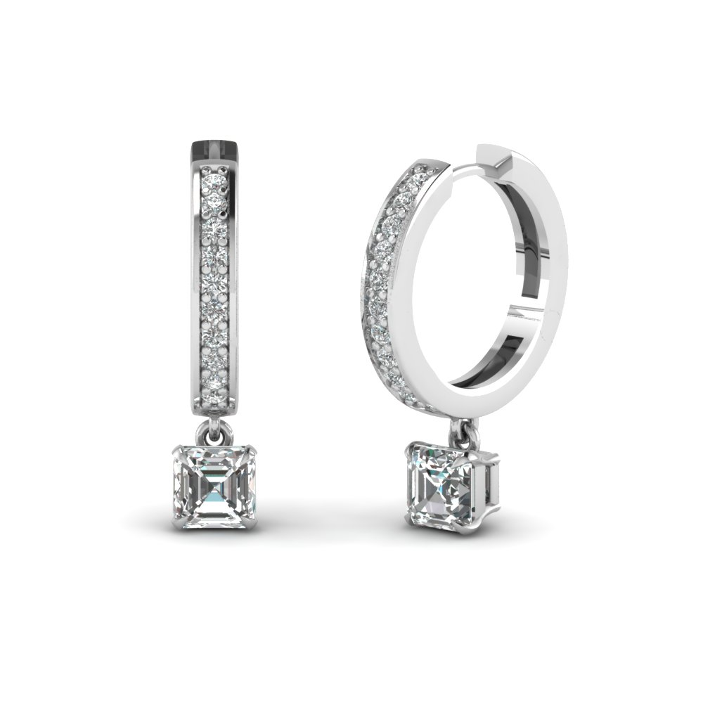 Asscher Cut Hoop Drop Earring White Gold