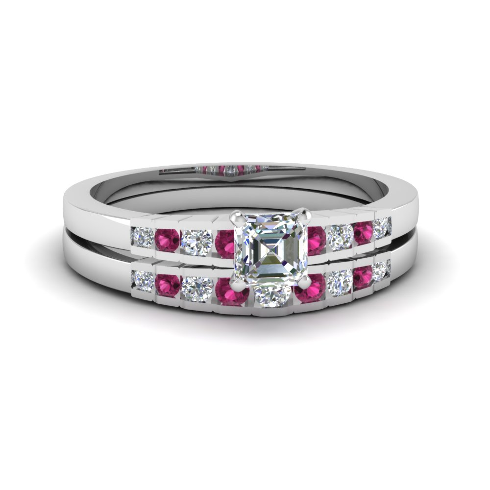 asscher cut diamond graduated accent wedding set with pink sapphire in 14K white gold FDENS3116ASGSADRPI NL WG