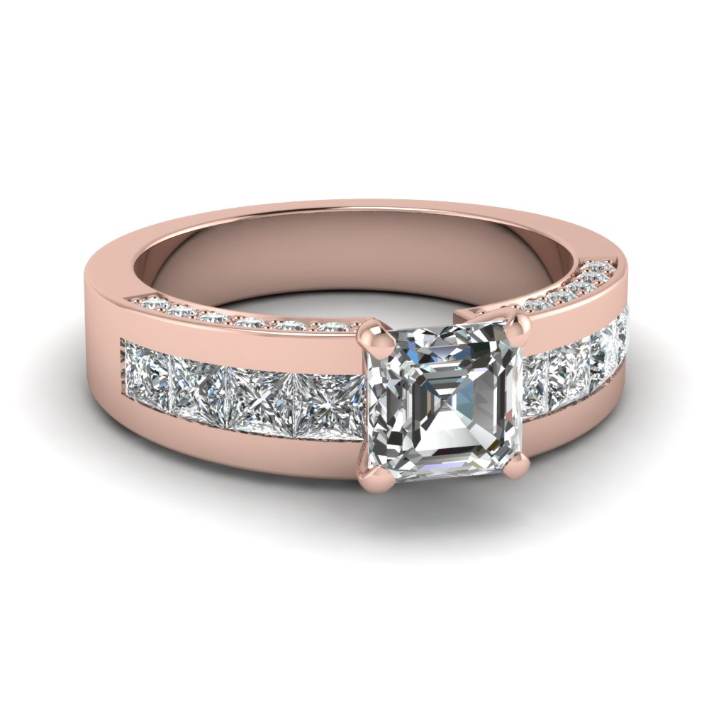 Asscher Cut Channel Set Engagement Ring In Rose Gold