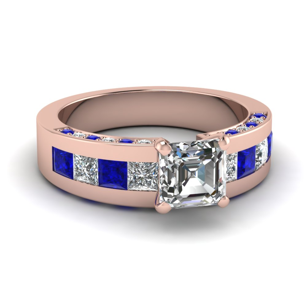 Asscher Cut Engagement Ring With Blue Sapphire Accents In Rose Gold