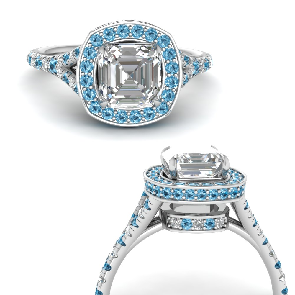 asscher-cut-diamond-halo-Split-engagement-ring-with-blue-topaz-in-FDENR8753ASRGICBLTOANGLE3-NL-WG