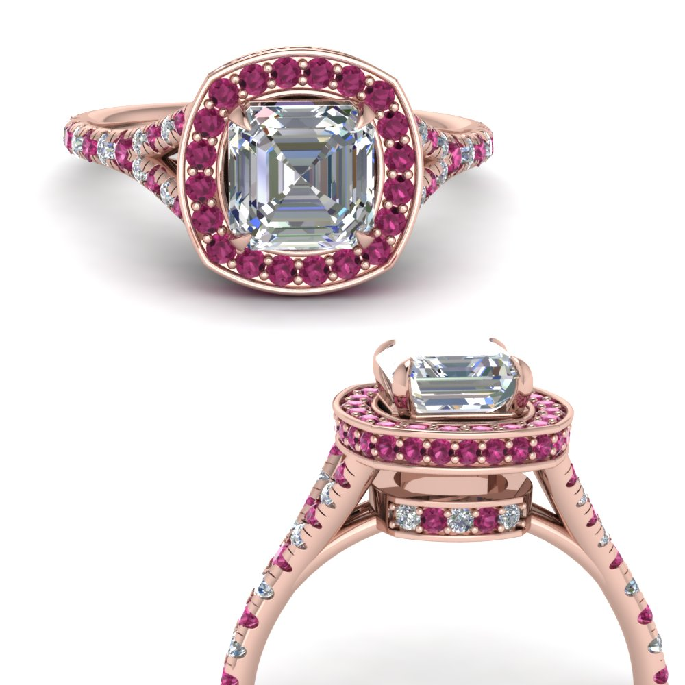 asscher-cut-diamond-halo-Split-engagement-ring-with-pink-sapphire-in-FDENR8753ASRGSADRPIANGLE3-NL-RG