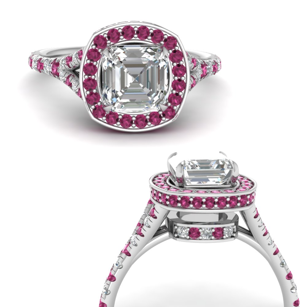 asscher-cut-moissanite-halo-Split-engagement-ring-with-pink-sapphire-in-FDENR8753ASRGSADRPIANGLE3-NL-WG