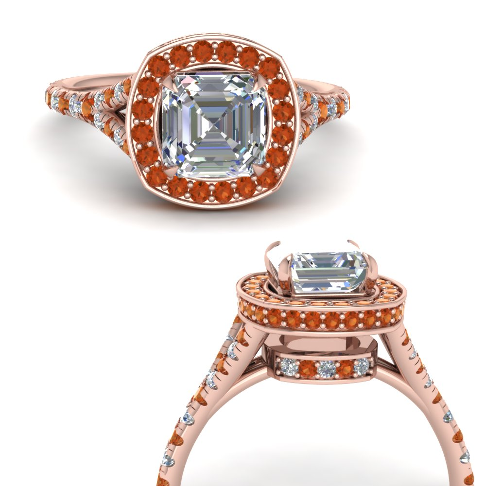 asscher-cut-diamond-halo-Split-engagement-ring-with-orange-sapphire-in-FDENR8753ASRGSAORANGLE3-NL-RG