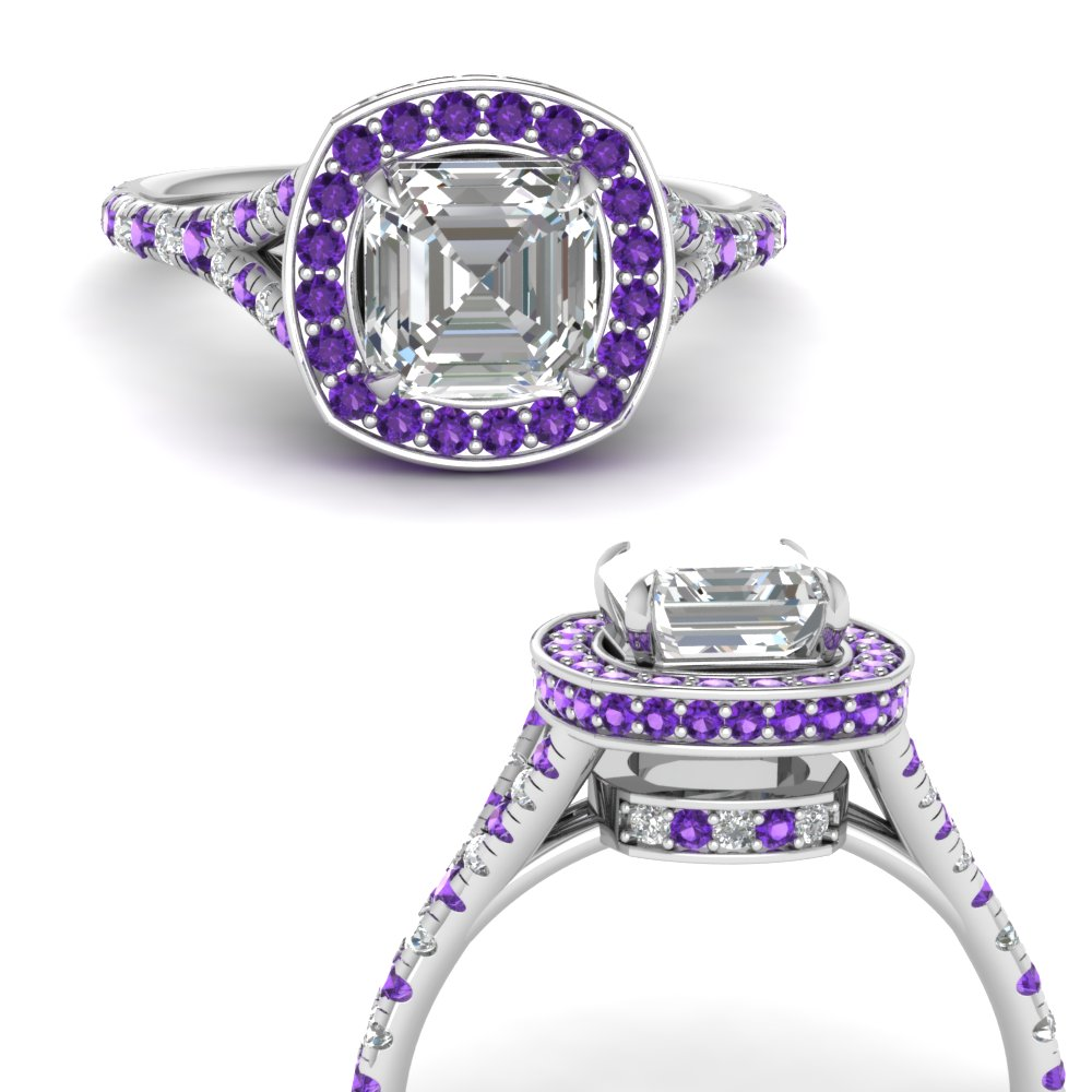 asscher-cut-diamond-halo-Split-engagement-ring-with-purple-topaz-in-FDENR8753ASRGVITOANGLE3-NL-WG