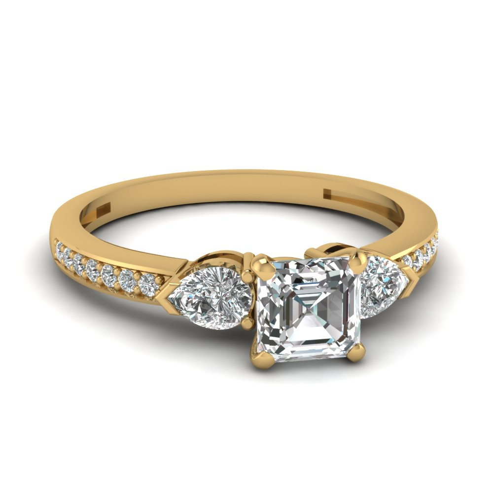 pear accent 3 stone asscher cut diamond engagement ring in 14K yellow gold FDENS3111ASR NL YG