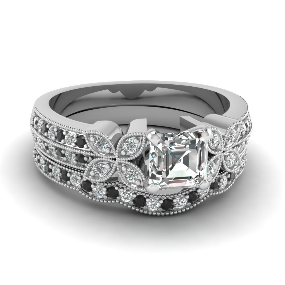 milgrain petal asscher wedding ring set with black diamond in FDENS3308ASGBLACK NL WG